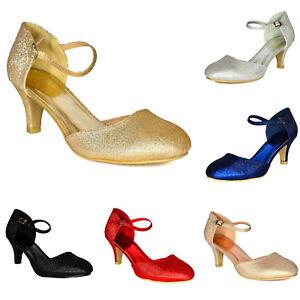 Glitter-Low-Heel-Shoes-Ladies-Mid-Kitten-Heel-Bridal-Smart-Evening-Dress-Sandals