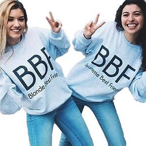 Image Is Loading Women Girls Best Friends Cute Sweatshirts BBF BFF