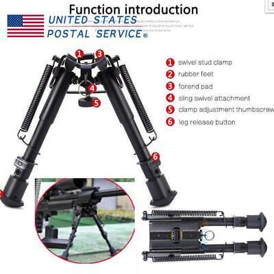 "Height Adjustable 6/"" to 9/"" Sniper Hunting Metal Rifle Bipod Sling Swivel Mount ."