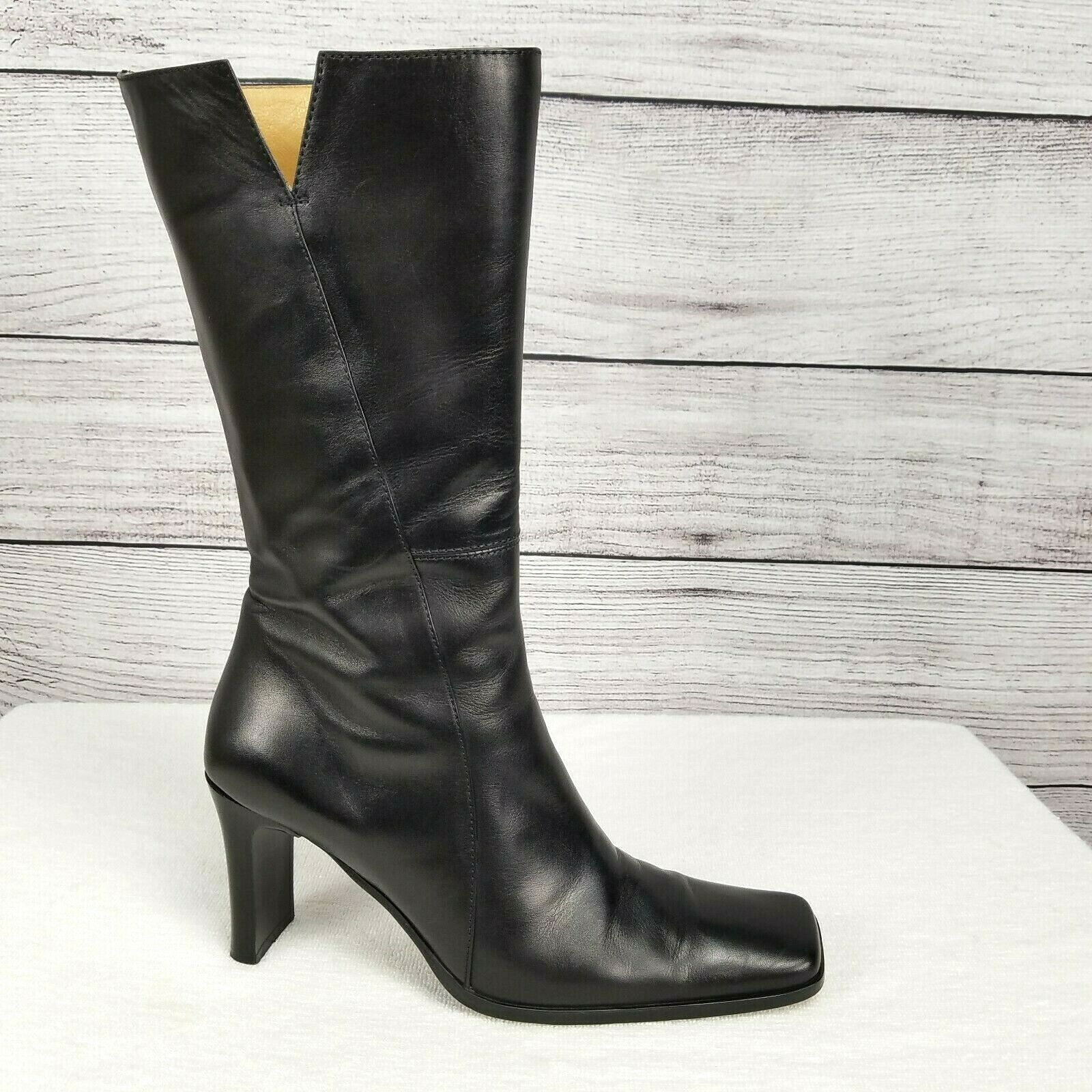 Size 38 Charles David Scorch Studded Boots Black Leather Womens Combat Shoe For Sale Online Ebay
