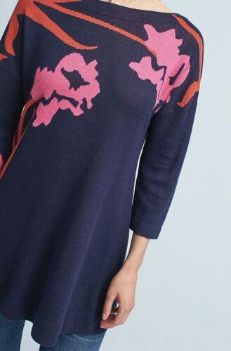 Blue Anthropology Big Ny Pink Sweater Field S Tunika Navy Flower Dress BxUwR