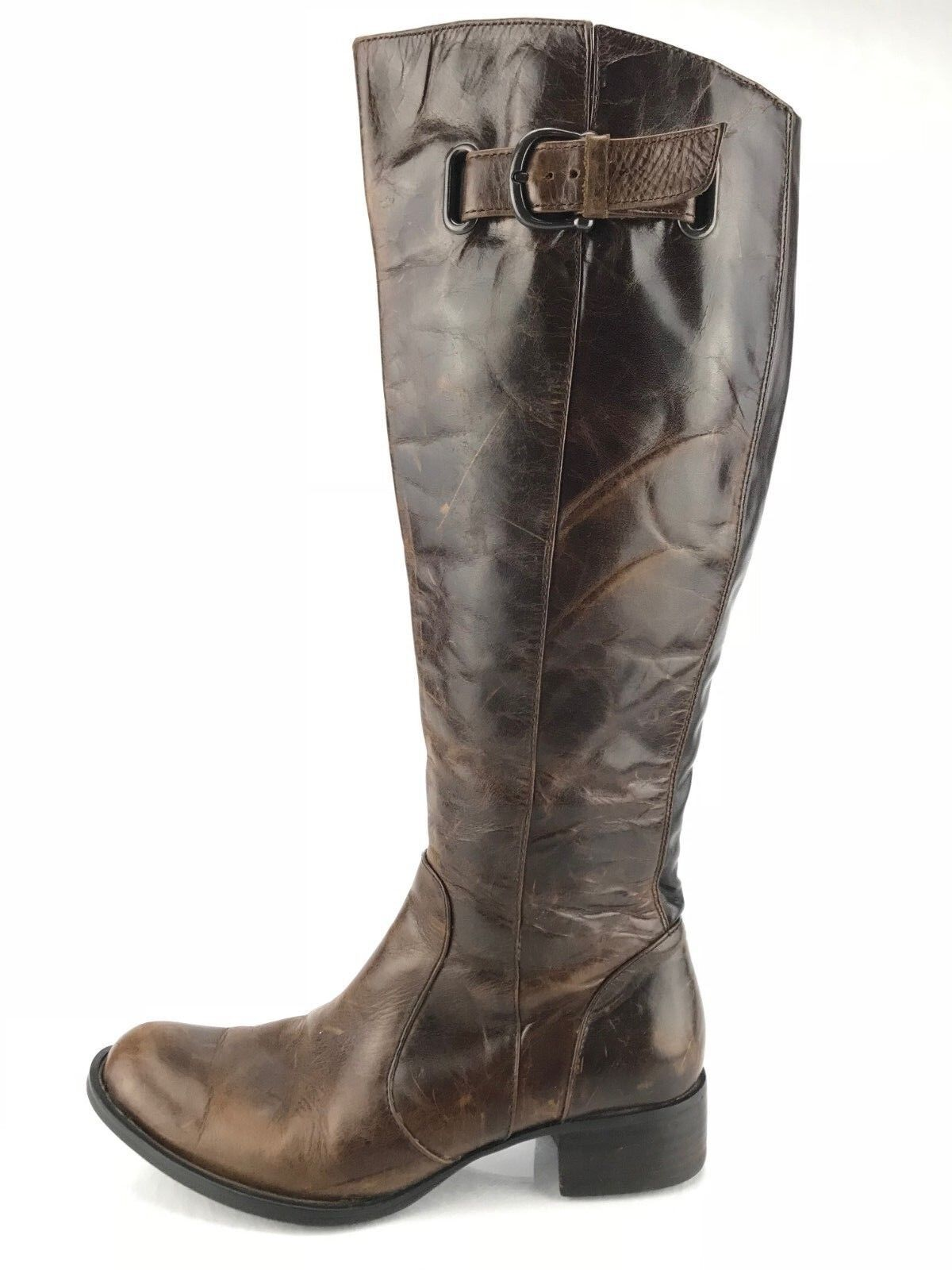 Born Riding Boots - Roxie Knee High Side Zip Leather shoes Women's 6.5 M Brown