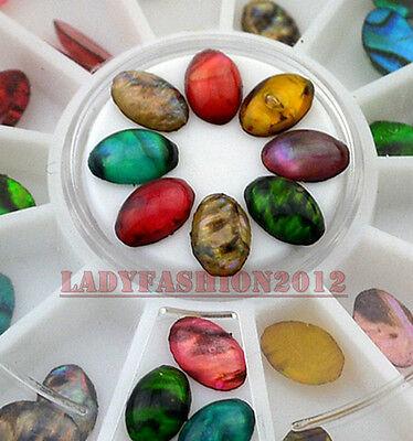 60Pcs Colorful Flame Stone Oval Shape Acrylic Nail Art Decoration DIY Wheel