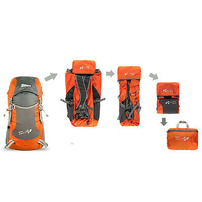 Outdoor Folding Bag Camp Travel WaterProof Hiking Backpack Sport Bag 35L Orange