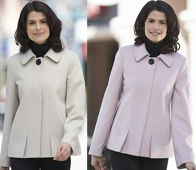 PINK OR STONE SMART CASUAL BUTTON VENT LINED JACKET SHORT WARM WINTER COAT