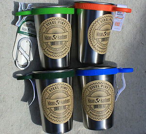 KLEAN-KANTEEN-PINT-w-ring-Stainless-Steel-16-oz-CUP-clean-canteen-W-CARABINER