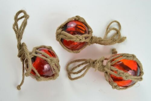 """3 PCS REPRODUCTION RED GLASS FLOAT BALL WITH FISHING NET 3/"""" #F-459"""