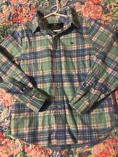 Vineyard Vines Boys L//S Crystal Blue Piper Plaid Flannel Button Down Whale Shirt