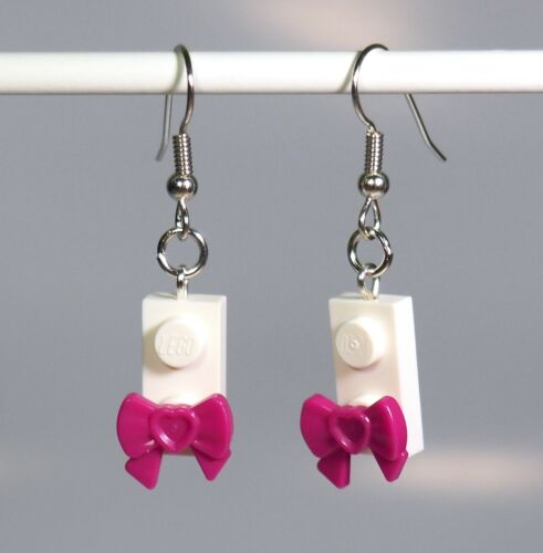 Earrings made of LEGO bricks  with ribbon