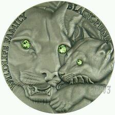 2016 BLACK PUMA WILDLIFE FAMILY - 1 Oz ULTRA High Relief Silver Coin Swarovski..
