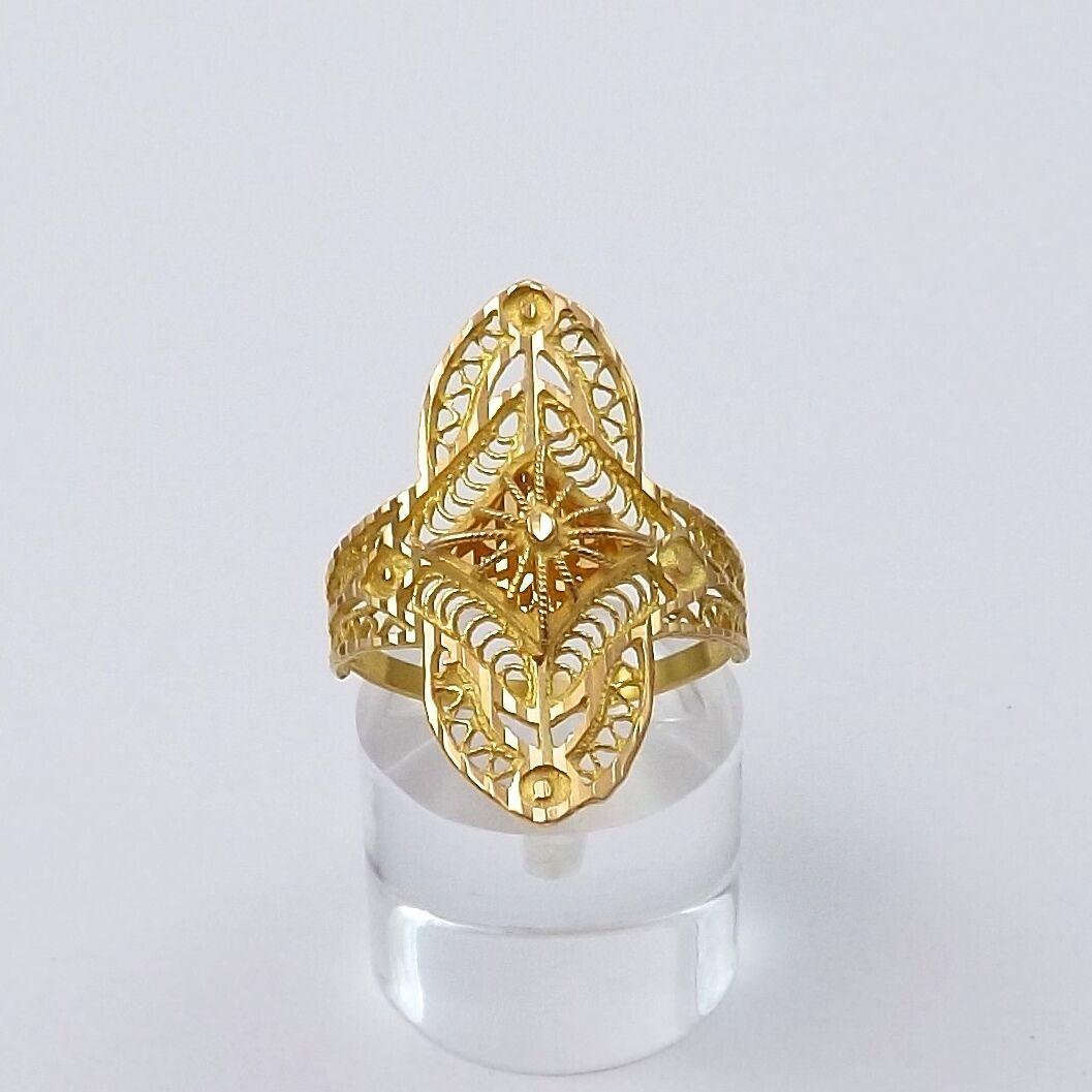 21k Yellow gold Filigree Pierced Navette Ring Sz 7.5