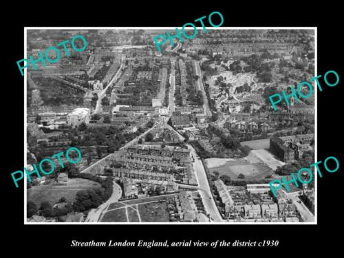 OLD 6 X 4 HISTORIC PHOTO STREATHAM LONDON ENGLAND, DISTRICT AERIAL VIEW c1930