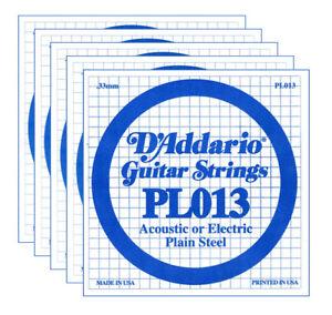 D-039-ADDARIO-PL013-Set-di-5-Singole-per-Acustica-o-Elettrica-Plain-Steel-013