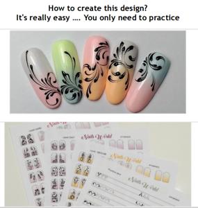 Training Mats for Nail Technican ORNAMENT nail art brush liner paint ...