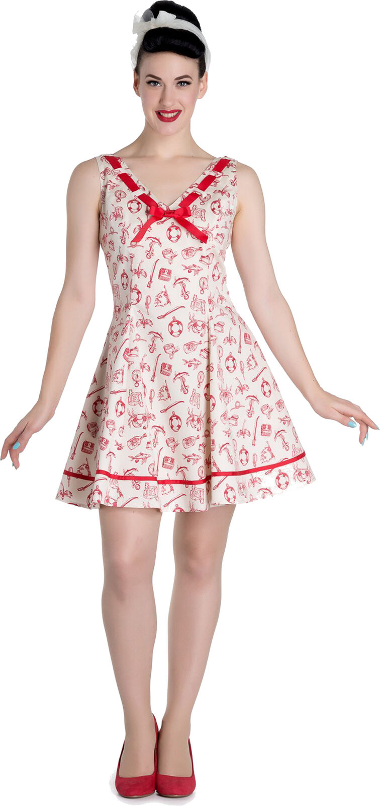 Hell Bunny ALIZEA Sailor NAUTICAL Anchor Pin Up Mini Dress KLEID rot Rockabilly