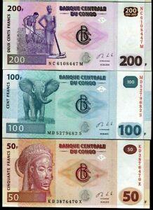 Mazuma *F834 Congo 2013 50,100,200 Francs Total 3Pc (Random) Set UNC