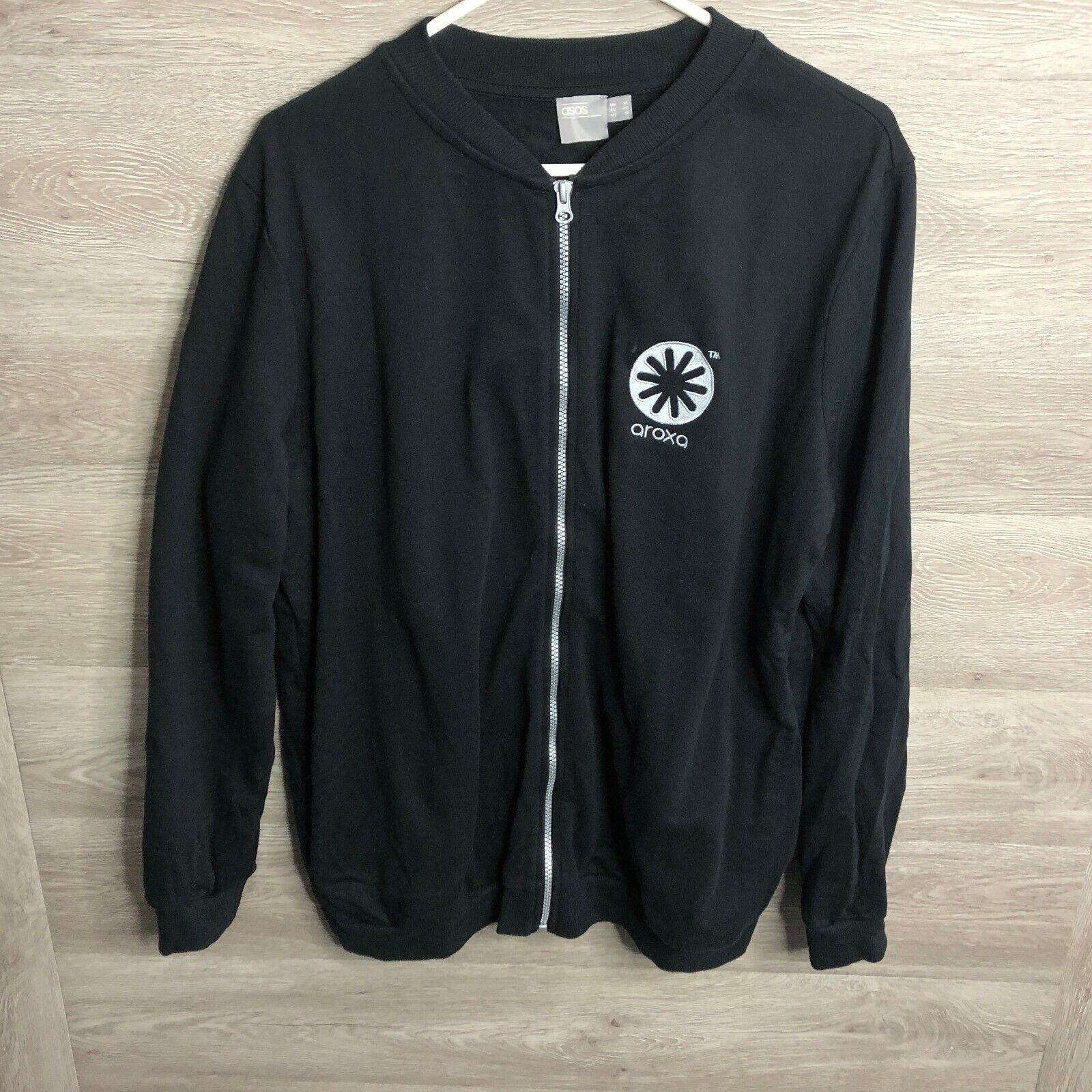 Asos Womens Size 10 Black Full Zip Jacket Top Varsity NEW