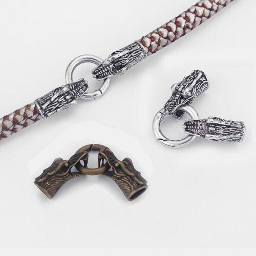 3 Sets Antique Silver//bronze tête de dragon Bouchon Ressort Fermoir pour 8 MM ROUND Cord