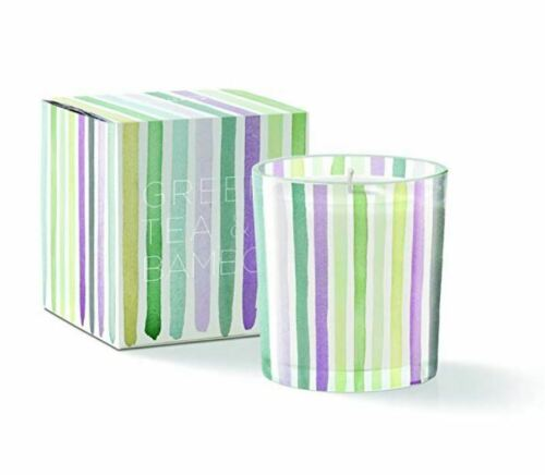 Green Tea and Bamboo Scented Fringe Studio Water Stripe Round May Candle