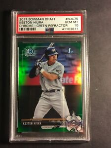 2017-Bowman-Draft-Chrome-Green-Refractor-Keston-Hiura-rookie-PSA-10-Gem-Mint-99