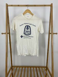 RARE-80s-Annual-Natural-Light-Classic-Short-Sleeve-Thin-T-Shirt-Size-M-USA
