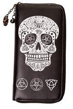 Banned Pentagram Skull Wallet Purse Gothic Occult Witchcraft Black Zip around