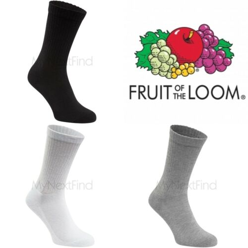 3 Pairs Fruit of the Loom Crew Socks