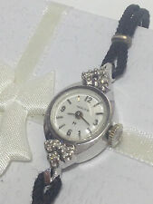 WOMEN'S VINTAGE HAMILTON 14K WHITE GOLD + DIAMONDS MANUAL WIND WATCH  CLEAN RUNS