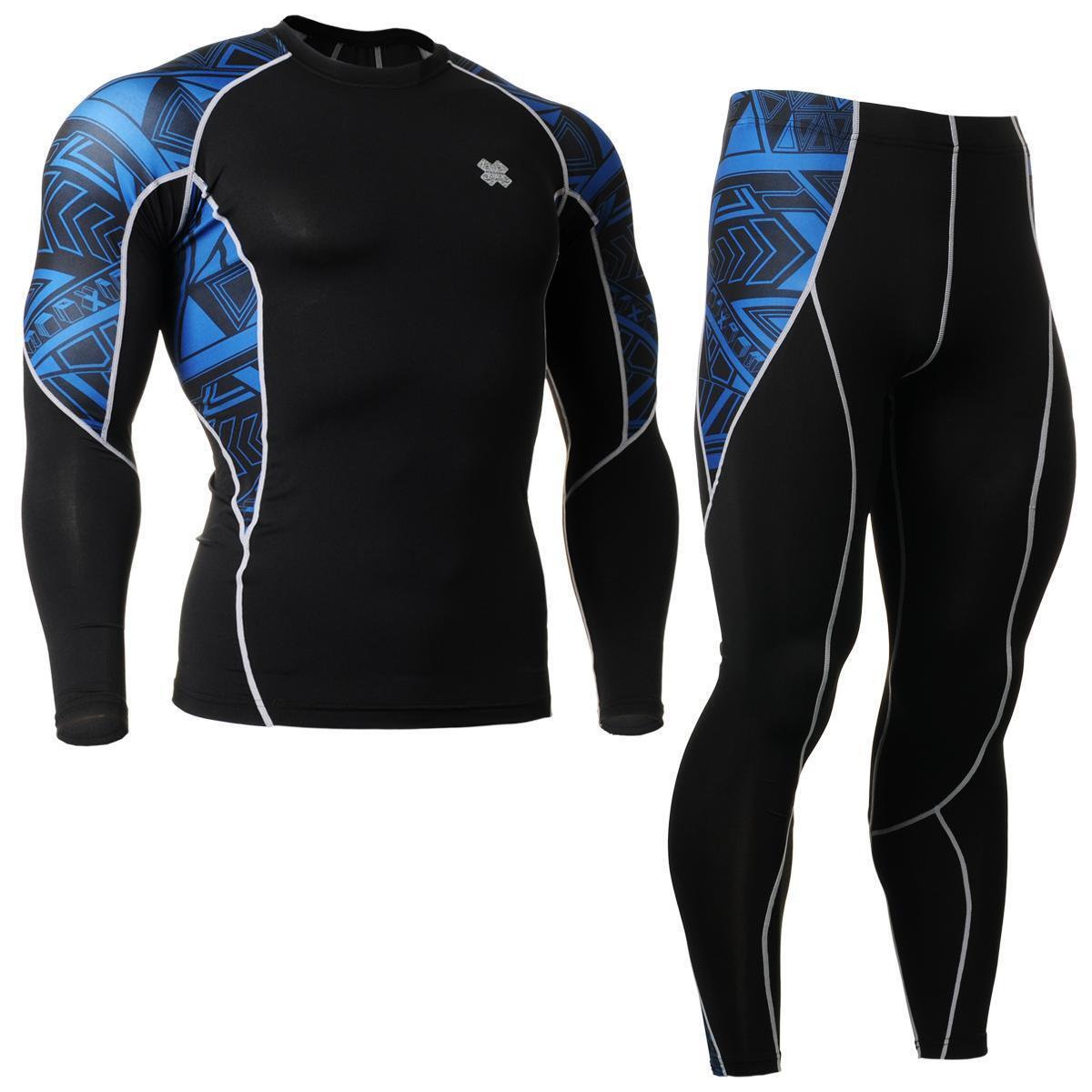 FIXGEAR C2L P2L-B1 Compression Shirts & Pants Set Sportswear MMA Training Gym