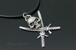 PUNK-SILVER-PLATE-45CM-SKULL-SWORD-RUBBER-CORD-MENS-BOYS-GIRLS-LADIES-NECKLACE