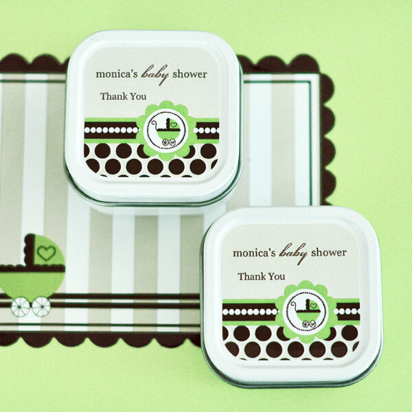24 Personalized Square Tin Grün Unisex Baby Theme Candles Baby Shower Favors