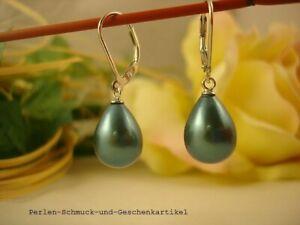 Ohrringe-925er-Silber-mit-MuschelkernPerlen-Tropfen-in-Petrol-TOP-Geschenk