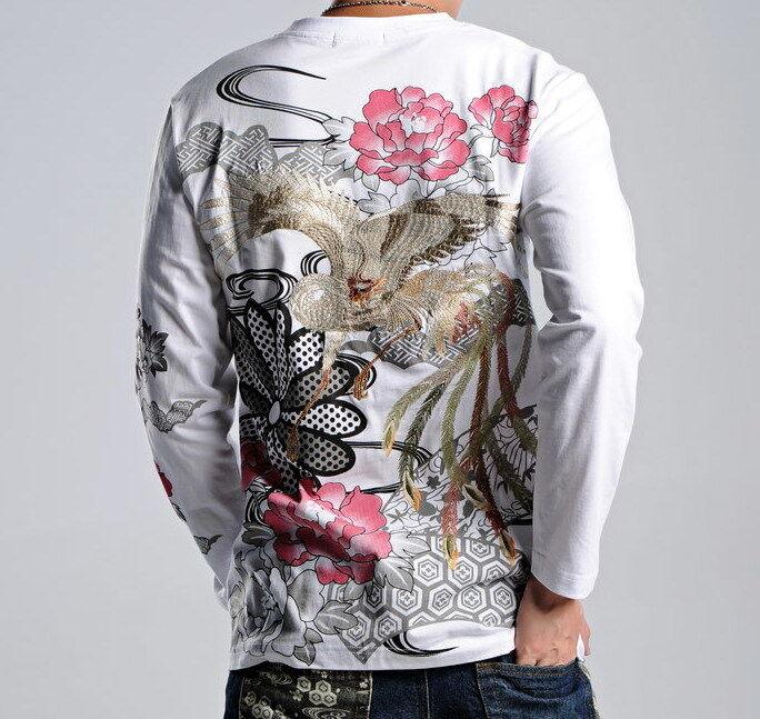 Mens Japanese Pattern Embroidery Sukajan T-Shirt Long Sleeve Cotton Tee Phoenix