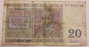 Billets-Belgique-20-Francs-type-De-Lassus-1956-De-Monte-Belgie-20-Frank