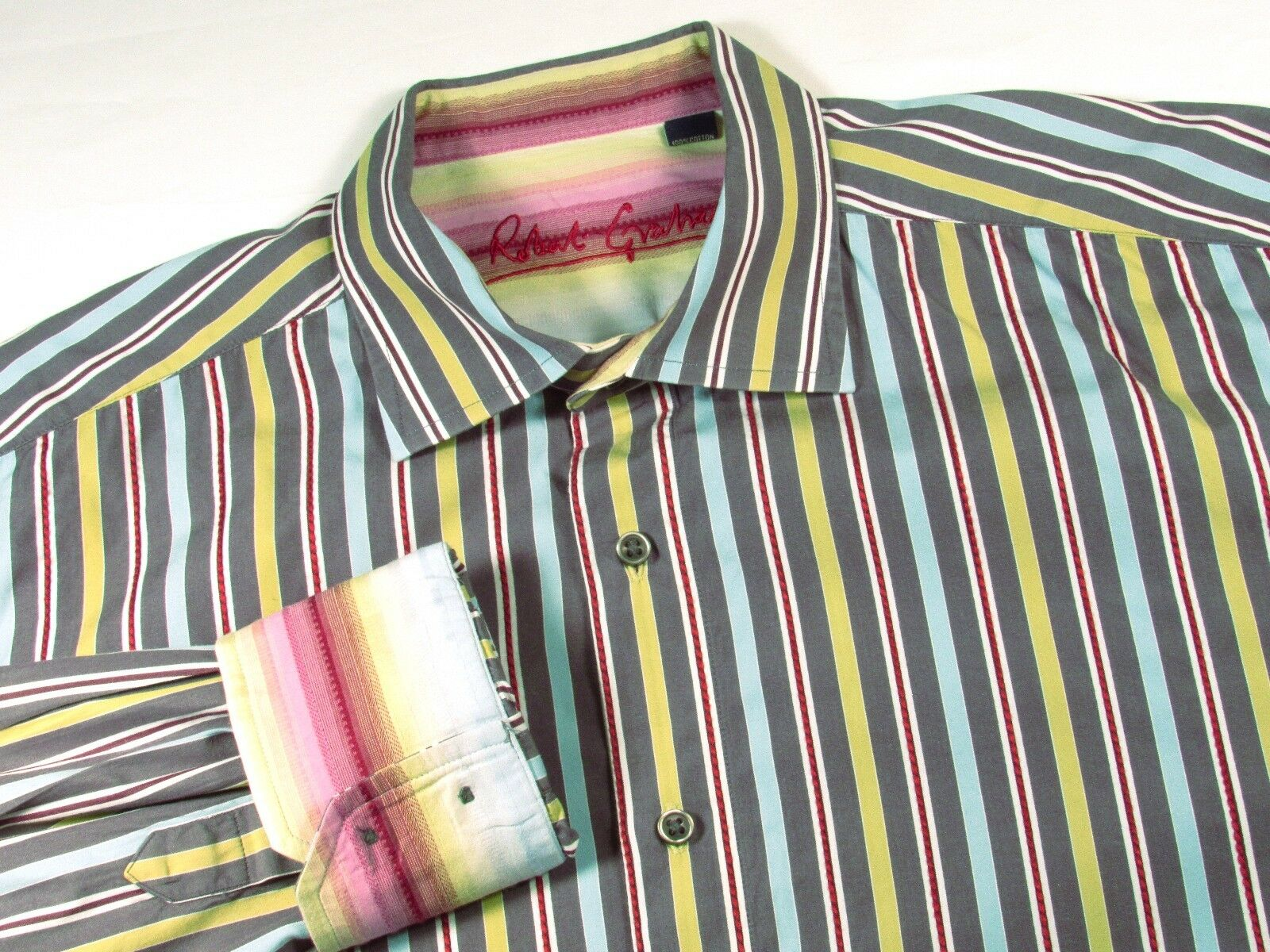 ROBERT GRAHAM Shirt - Men's 2XL Stripes - Nordstrom Fun colors Details Cuff Gift
