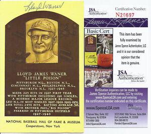 Lloyd-Waner-Signed-HOF-Plaque-Postcard-JSA