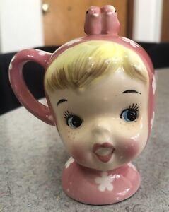 Vintage NAPCO MISS CUTIE PIE 3 HOLE SALT OR PEPPER Shaker Girl Pink EX CONDITION