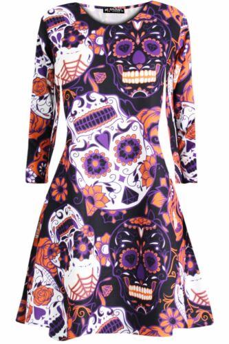 Femme Imprimé Crâne Déguisement Mini Robe Patineuse Swing Robe 8-26
