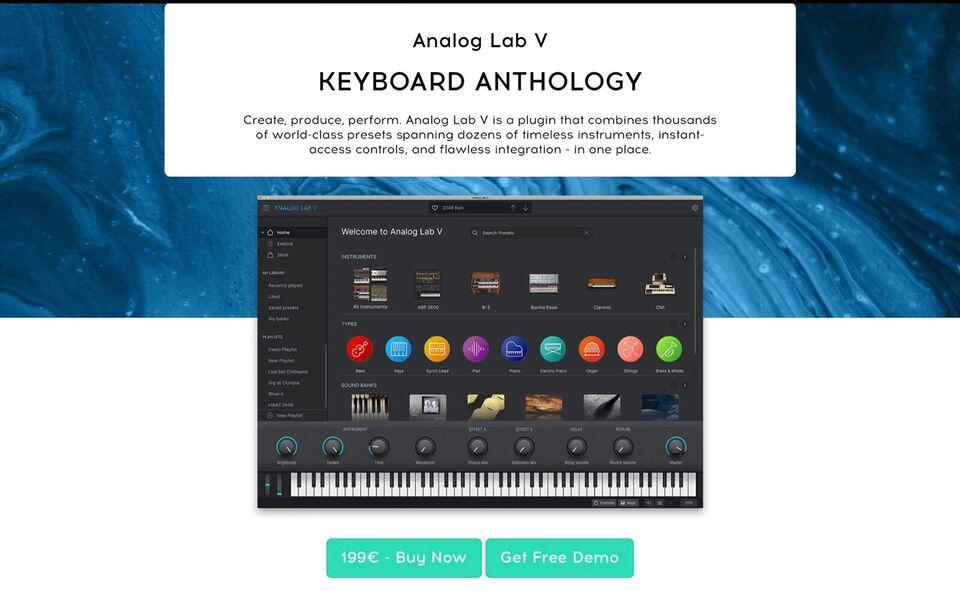Plug-in / software synth, Arturia Analog Lab V / Piano V