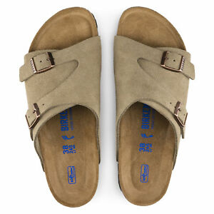 5fe1efa8f Image is loading Birkenstock-Zurich-Soft-Footbed-1009532-Suede-Leather- Sandals-