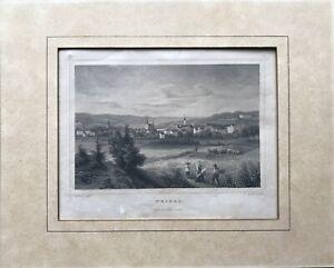 Acero-pinchazo-L-Oeder-tras-rohbock-ciudad-vista-Weimar-con-personas-Goethe-siglo-19