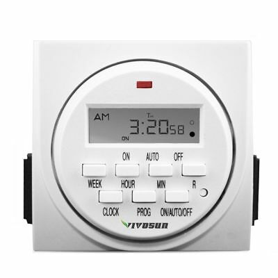 VIVOSUN 7-Day Digital Program Timer Dual Outlet Light On Off Switch LCD Display
