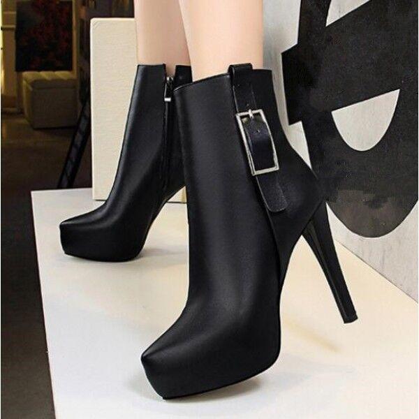 Stiefel niedrig schuhe stilett 12 schwarz elegant leder kunststoff 9478
