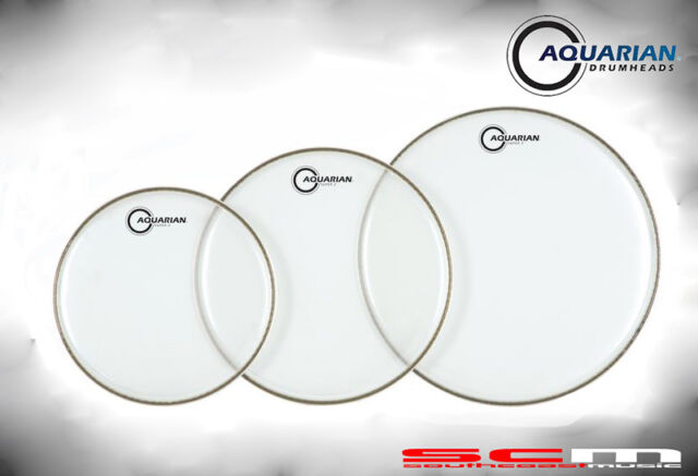 "Aquarian ROCK Drum Skin Heads 3 Pack CC-B CLASSIC CLEAR 12""+13""+16"" Drumskins"