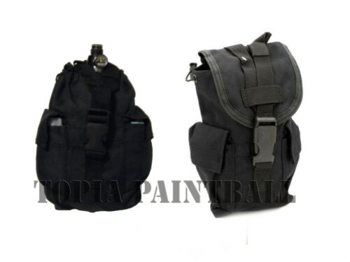 2 X Paintball Vest MOLLE Vertical Air Tank Pouch Black Paintball Dump Pouch