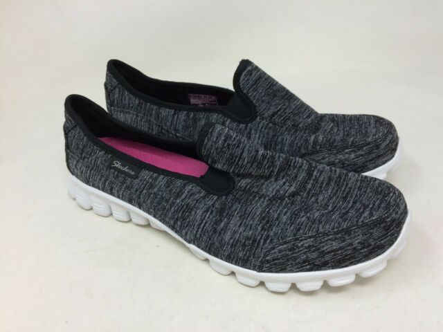 New! Women's Skechers 22183WH EZ Flex Memory Foam Slip On Wide BlackWhite R26