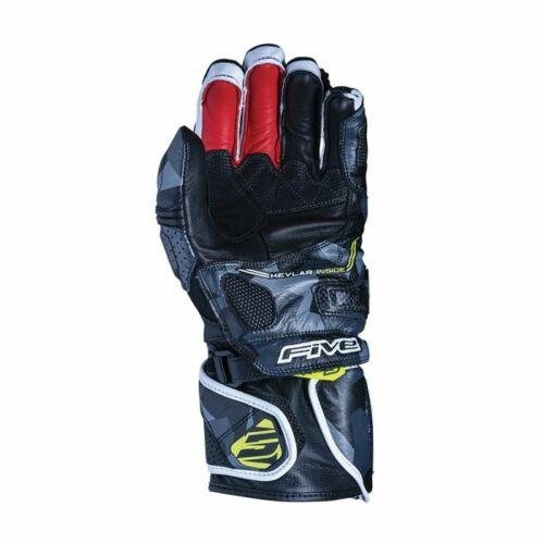 FIVE RFX-1 Replica Camo//Fluro Yellow Motorcycle Gloves Medium 9
