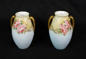 Antique 19th C Fine Porcelain Miniature Vases Hand Painted Notre Dame Roxbury