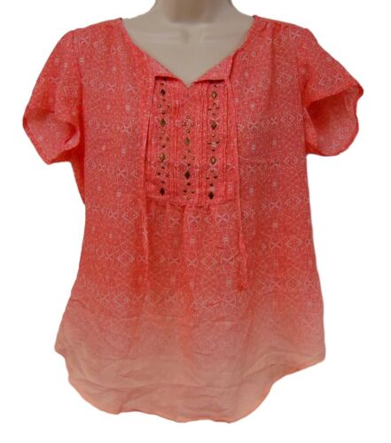 Laura Scott Women/'s Missy Embellished Peasant Print Top Choose Size /& Color