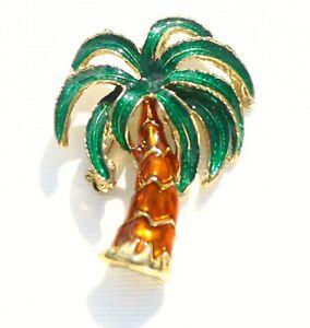 BROOCH-vintage-beautiful-palm-tree-lacquer-enamel